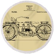 Round Beach Towel featuring the digital art Vintage Harley-davidson Motorcycle 1919 Patent Artwork by Nikki Smith