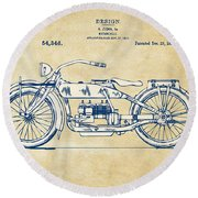 Vintage Harley-davidson Motorcycle 1919 Patent Artwork Round Beach Towel by Nikki Smith