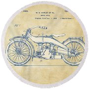 Round Beach Towel featuring the digital art Vintage Harley-davidson Motorcycle 1924 Patent Artwork by Nikki Smith
