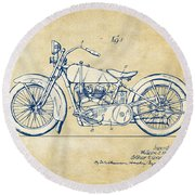 Vintage Harley-davidson Motorcycle 1928 Patent Artwork Round Beach Towel by Nikki Smith