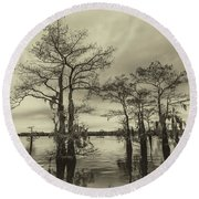 Round Beach Towel featuring the photograph Vintage Henderson Swamp  by Andy Crawford
