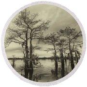 Vintage Henderson Swamp  Round Beach Towel