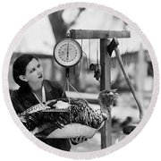 Vintage Holiday Card   Woman Weighing A Turkey Ahead Of The Holidays Round Beach Towel