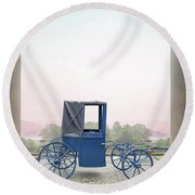 Vintage Horse Drawn Carriage Outside A Country Mansion  Round Beach Towel by Lee Avison