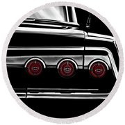 Vintage Impala Black And White Round Beach Towel