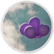 Vintage Inspired Purple Balloons In Blue Sky Round Beach Towel by Brooke T Ryan