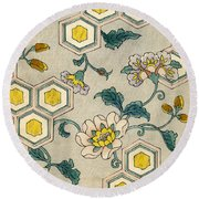 Vintage Japanese Illustration Of Blossoms On A Honeycomb Background Round Beach Towel by Japanese School
