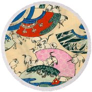 Vintage Japanese Illustration Of Fans And Cranes Round Beach Towel