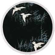 Vintage Japanese Illustration Of Three Cranes Flying In A Night Landscape Round Beach Towel