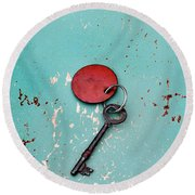 Round Beach Towel featuring the photograph Vintage Key With Red Tag by Jill Battaglia