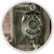 Vintage Kodak Camera Round Beach Towel