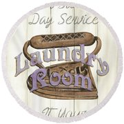 Round Beach Towel featuring the painting Vintage Laundry Room 1 by Debbie DeWitt