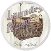 Round Beach Towel featuring the painting Vintage Laundry Room 2 by Debbie DeWitt