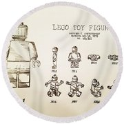 Vintage Lego Toy Figure Patent - Graphite Pencil Sketch Round Beach Towel