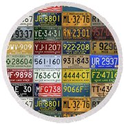 Vintage License Plates From Michigan's Rich Automotive Past Round Beach Towel by Design Turnpike