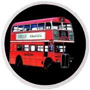 Vintage London Bus Tee Round Beach Towel