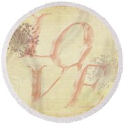 Vintage Love Round Beach Towel by Caitlyn Grasso