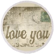 Vintage Love Letters Round Beach Towel