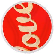 Vintage Love Sign Round Beach Towel