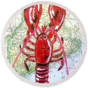 Vintage Map Maine Red Lobster Round Beach Towel