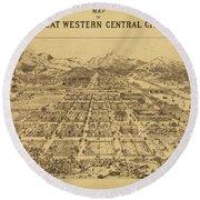 Vintage Map Of Central City Colorado Round Beach Towel