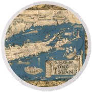 Vintage Map Of Long Island Round Beach Towel by James Kirkikis