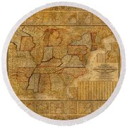 Vintage Map Of The United States Of America Usa Circa 1845 On Worn Distressed Parchment Round Beach Towel