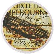 Vintage Melbourne Tram Tin Sign Round Beach Towel
