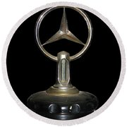 Round Beach Towel featuring the photograph Vintage Mercedes Radiator Cap by David and Carol Kelly