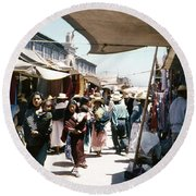 Round Beach Towel featuring the photograph Vintage Mexico Women Babies by Marilyn Hunt