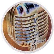 Vintage Microphone Round Beach Towel