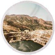 Vintage Mining Pit Round Beach Towel