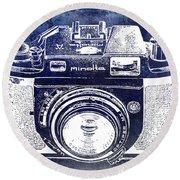 Vintage Minolta Camera Blue Round Beach Towel