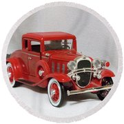 Vintage Model Fire Chiefcar Round Beach Towel by Linda Phelps