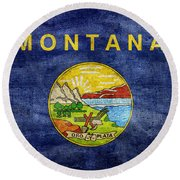 Vintage Montana Flag Round Beach Towel