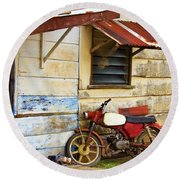 Vintage Motorbike Round Beach Towel