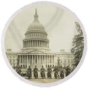 Vintage Motorcycle Police - Washington Dc  Round Beach Towel by War Is Hell Store