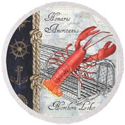 Vintage Nautical Lobster Round Beach Towel