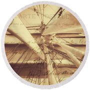 Vintage Nautical Sailing Typography In Sepia Round Beach Towel