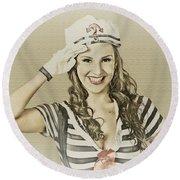 Vintage Navy Sailor Pin Up Girl  Round Beach Towel