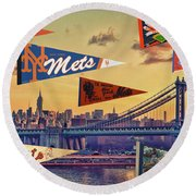 Vintage New York Mets Round Beach Towel by Steven Parker