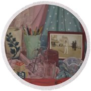 Vintage Objects Round Beach Towel
