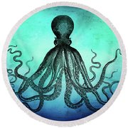 Vintage Octopus On Blue Green Watercolor Round Beach Towel