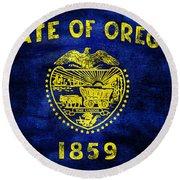 Vintage Oregon Flag Round Beach Towel by Jon Neidert