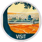 Vintage Palestine Travel Poster Round Beach Towel by George Pedro