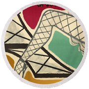 Vintage Paris Cabaret Round Beach Towel
