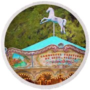 Vintage Paris Carousel Round Beach Towel by Melanie Alexandra Price