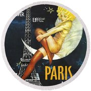 Vintage Paris Moon Round Beach Towel