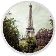 Vintage Paris Round Beach Towel