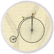 Vintage Penny Farthing Bunny Round Beach Towel